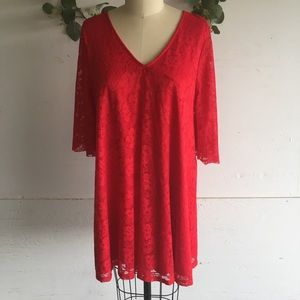 Francesca's Red Lace Bell Sleeve Shift Dress